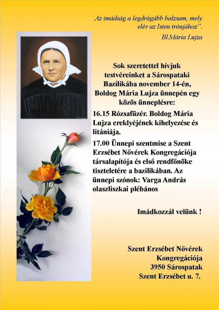 bl.Maria meghivó ünnepre
